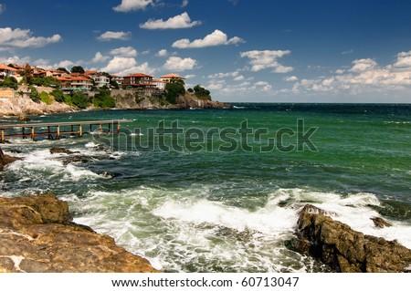 Sozopol coastline at Black Sea in Bulgaria - stock photo