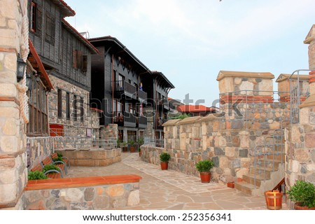 Sozopol in Bulgaria on the Black Sea. It is located a few small peninsula. The city is divided into Old and New Town and is a favorite destination of tourists from around the world. - stock photo