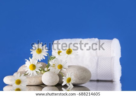 Spa. A bouquet of chamomile lies on the stones. Two white towels. The background is blue.