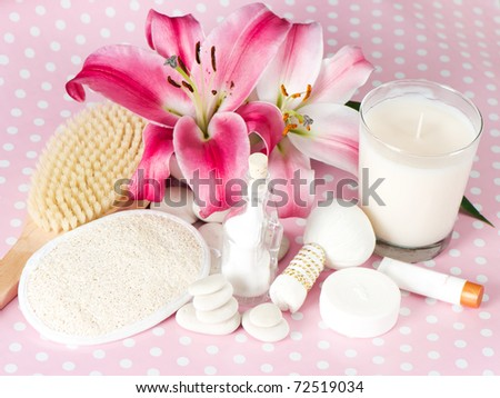 spa accessories. pink lily - stock photo