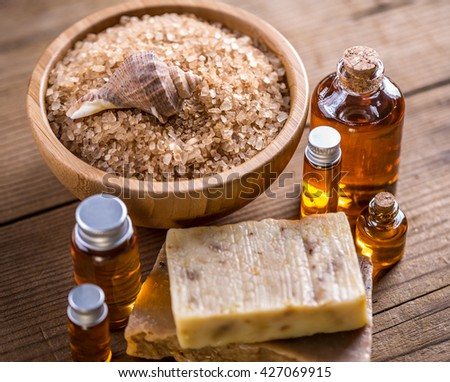 Spa accessories with salt, soap and essential oil - stock photo