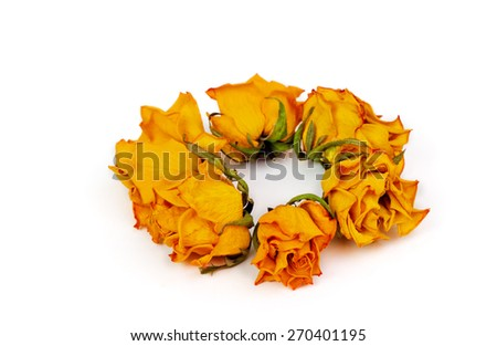 Spa Accessories, yellow dried roses isolated on white - stock photo