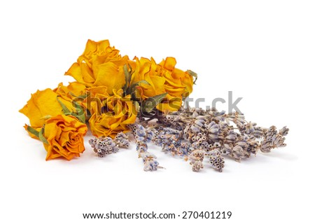 Spa Accessories, yellow dried roses with lavender isolated on white - stock photo