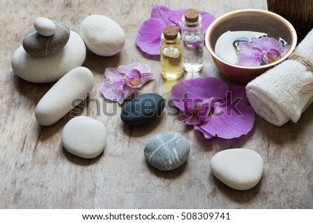 SPA and aromatherapy set with stones,flowers and oil