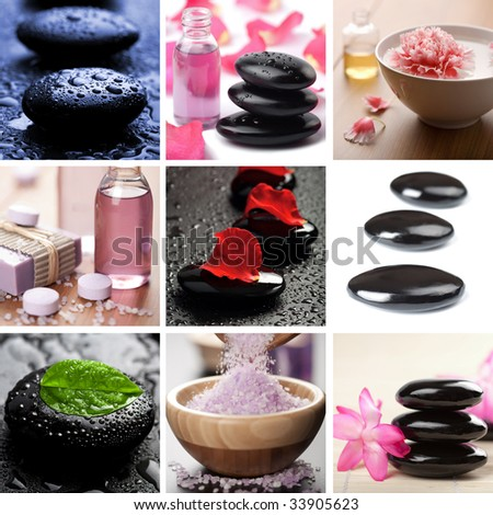 spa and body care collage - stock photo