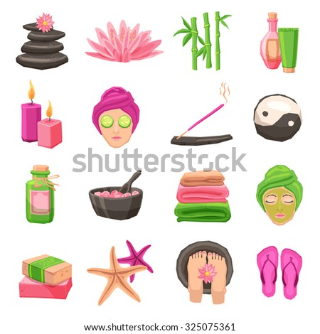 Spa and body therapy decorative icons set with isolated  illustration