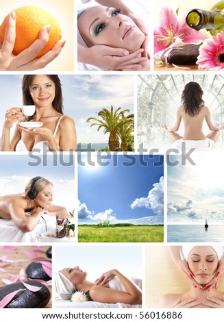 Spa and health collages made of some bright pictures - stock photo