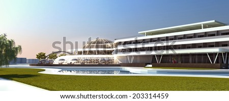Spa and Hotel Render Hotel Zone - stock photo
