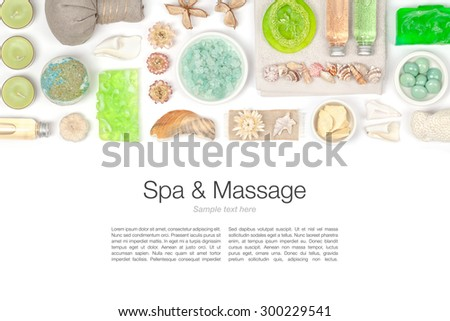 spa and massage elements on white background - stock photo