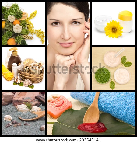 Spa and organic cosmetics collage made of seven images. Beautiful woman with perfect skin, herbs, natural body scrub, sea salt and creams with green leaves - stock photo