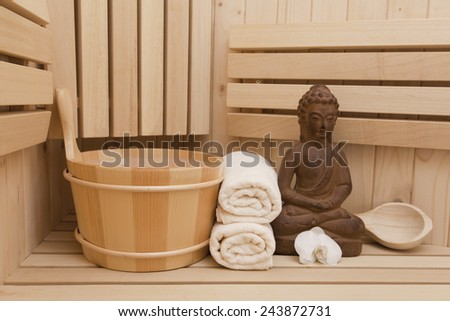 Spa and wellness items in sauna, meditation concept - stock photo