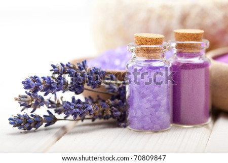 Spa and wellness - Lavender minerals - stock photo