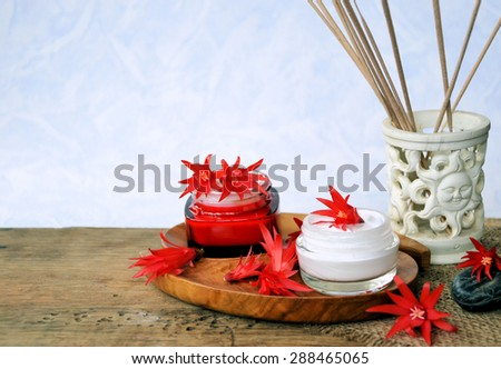 Spa and wellness set of natural products ,spa background - stock photo