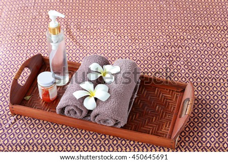 Spa and wellness setting with frangipani flowers. concept for spa and Thai massage - stock photo