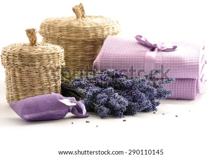 Spa and wellness setting with lavender flowers - stock photo