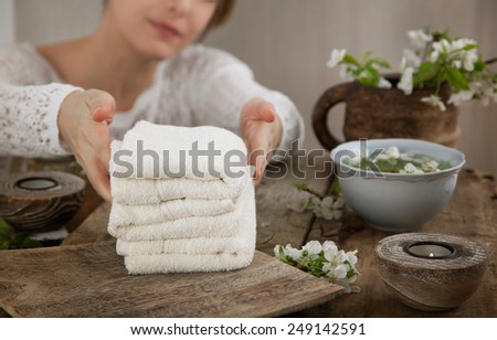 Spa and wellness. Spa female worker is preparing the treatment - stock photo
