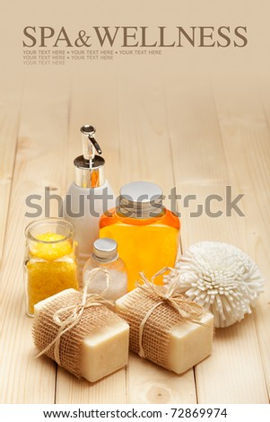 Spa and Wellness - Spa minerals and soap bars - stock photo