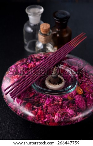 spa, aromatherapy and meditation. aromatic sticks and essential oils - stock photo