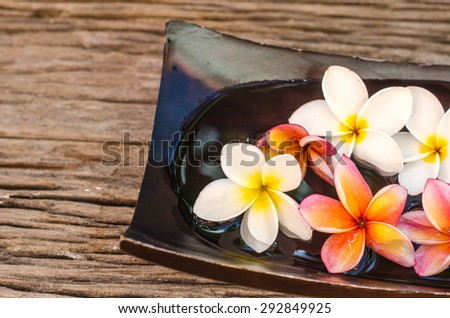Spa & aromatherapy concept,Red and white frangipani flower on wooden background in the vintage style. - stock photo
