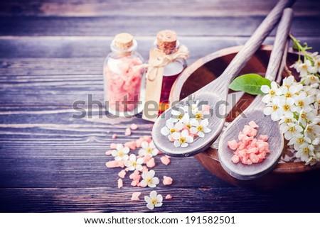 Spa. Aromatherapy essential oils, flowers, sea salt. Spa set - stock photo