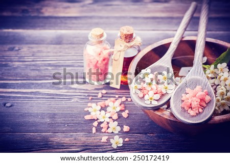 Spa. Aromatherapy essential oils, flowers, sea salt. Spa set - stock photo