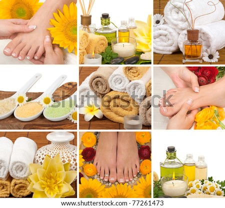 Spa, aromatherapy, massage, pedicure collage - stock photo
