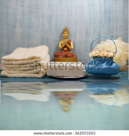 SPA - Aromatic sea salt and scented soap, scented candles and massage oil - stock photo