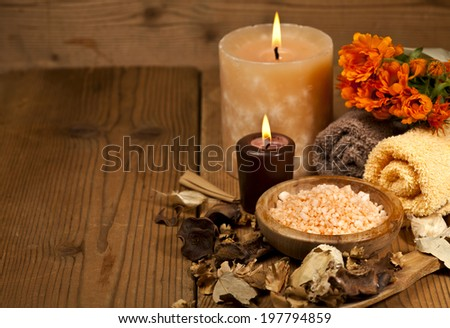 Spa background in the range of brown and orange with copy space. Selective focus. - stock photo