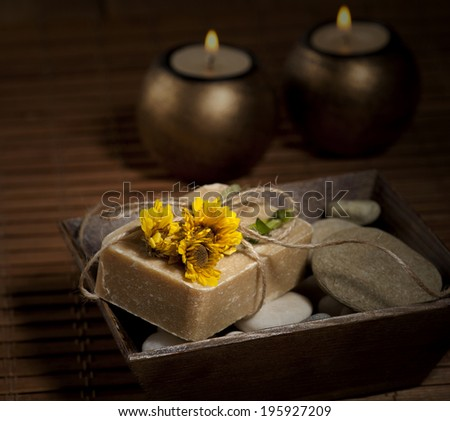Spa background in the range of brown and yellow. Selective focus. - stock photo