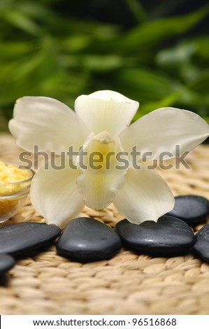 SPA background on woven mat background