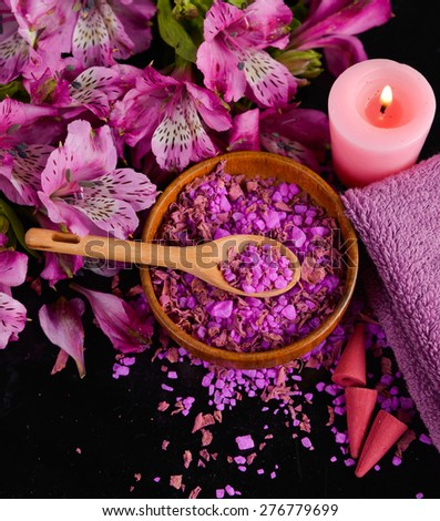 Spa background-orchid, candle, salt in bowl - stock photo