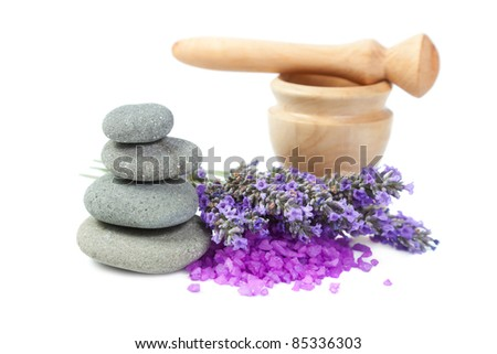 Spa background. Sprigs of lavender, mortar, bath salt, pebbles for stone therapy. Isolated on a white background - stock photo
