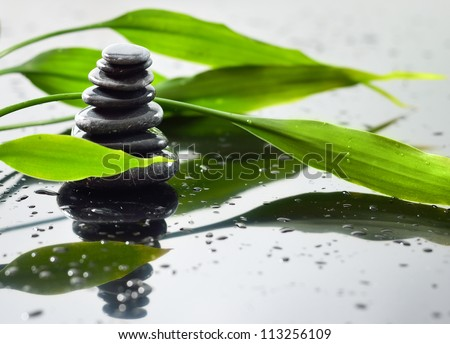 Spa Background with Bamboo and stones - stock photo