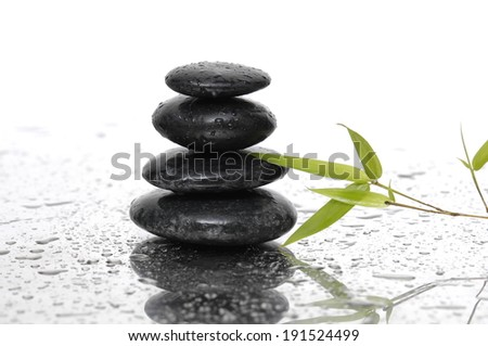 Spa Background with Bamboo and stones on wet background - stock photo