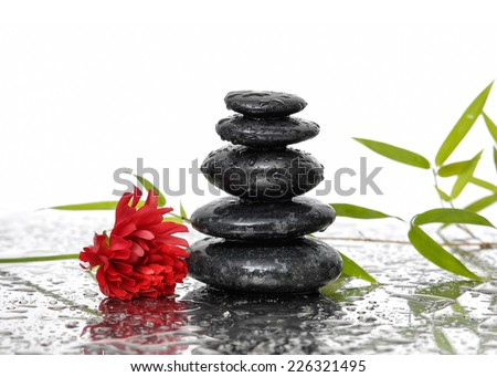 Spa Background with Bamboo and stones with red flower on wet - stock photo