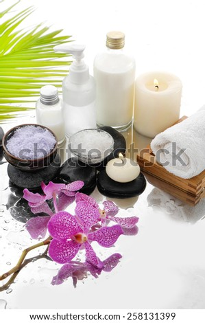 Spa Background with green palm with spa set - stock photo