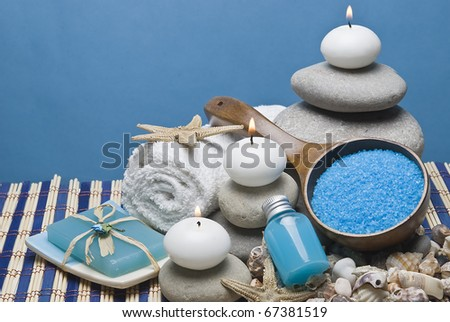 Spa background with hygiene and decorative items. - stock photo