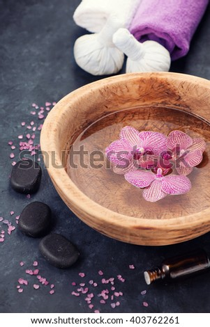 Spa background with orchids  and stones zen - stock photo