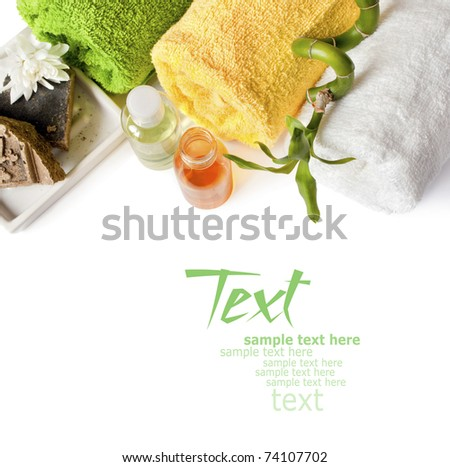 Spa background with towels, shampoo, bamboo and soap isolated on a white - stock photo