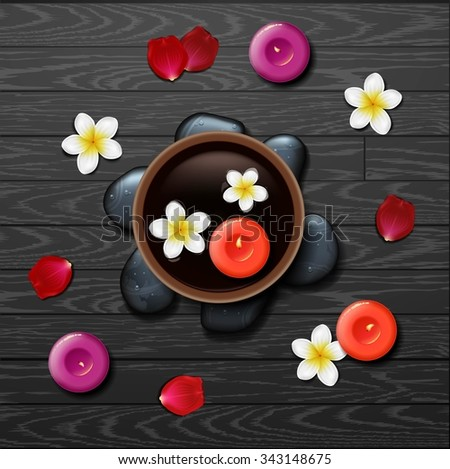 spa background with tropical flowers and stone spa - stock photo
