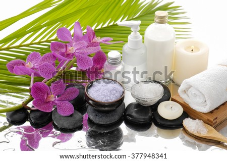 Spa Background with with spa set - stock photo