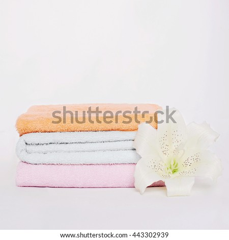 spa Bath still life.towels and orchid flower - stock photo