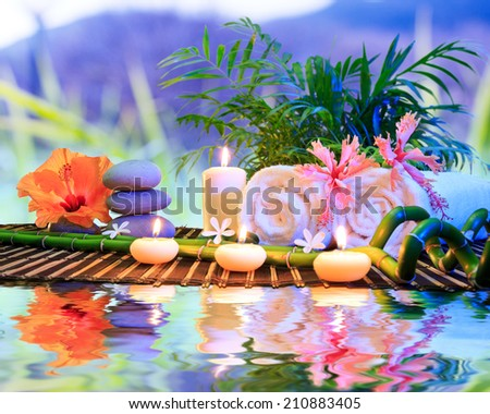 spa bath treatment in nature for aromatherapy and relaxation  - stock photo