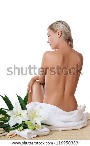Spa beautiful woman isolated on white background