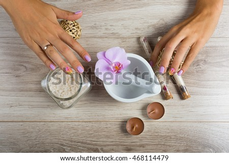 Spa beauty essential on wooden background