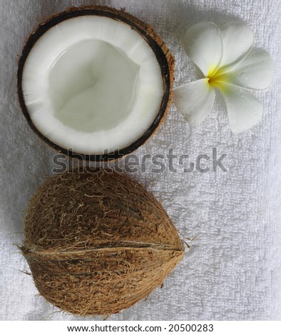 spa beauty exotic tropical flowers coconuts on white towels - stock photo