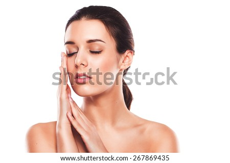 Spa beauty skin treatment . Young woman isolated on white background. - stock photo