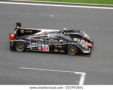 SPA, BELGIUM - MAY 4: French racing driver Nicolas Prost driving the Rebellion Racing Lola-Toyota prototype car at circuit Spa-Francorchamps May 4, 2012 in Spa, Belgium. - stock photo