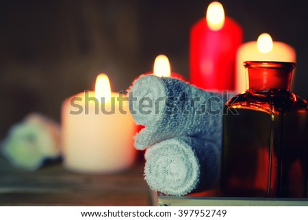 Spa candle wipes bottles - stock photo