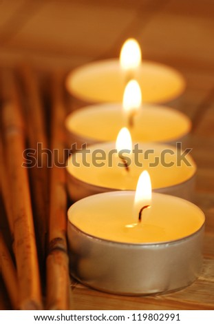 Spa candles with bamboo - stock photo